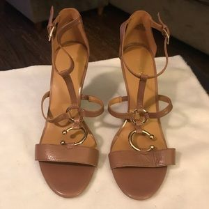 Nine West Tan Leather Wedge Sandals 8.5